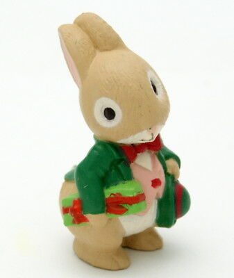 "Hallmark Merry Miniatures Christmas Bunny 1.42"" Rabbit w/ Present New ~ Gold Tag"