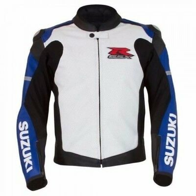 Suzuki GSXR Custom Motorcycle Racing Leather Jacket CE Armor Back