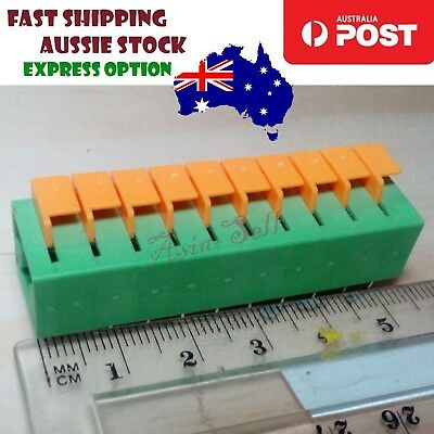 Dual Row 20 Pin Screwless Terminal Block Connector 2.54mm Pitch 150V 2A Green