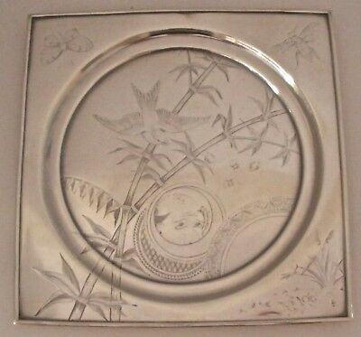 Whmisical Gorham Aesthetic Sterling Bird Bamboo Bugs Japanese Man Face Tray 1878