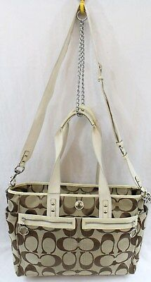 COACH F14871 Camel And Brown Signature Jacquard Baby Daisy XL Diaper Bag Tote