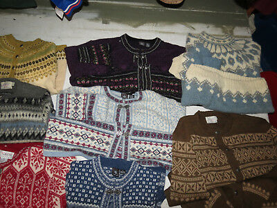 Lot Of 13 Wool Sweaters Vintage Fair Isle Nordic Snowflakes Cardigans Clasps