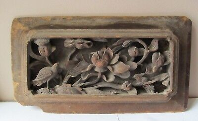 """Antique 19th Century CARVED WOODEN CHINESE PANEL Lily Pads BIRDS 14 1/2"""" x 8"""""""