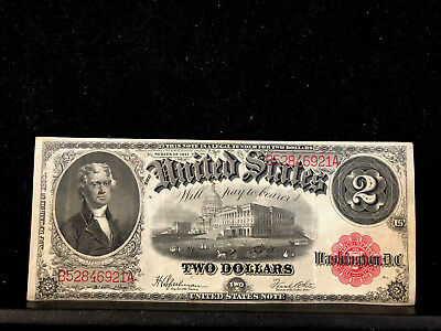 Series Of 1917 Large Size $2 Two Dollar Bill United States Note Red Seal