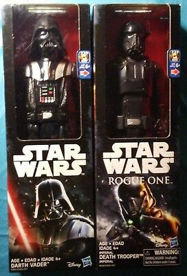 Lot of 2: Star Wars Rogue One Darth Vader and Death Trooper with weapons! NEW