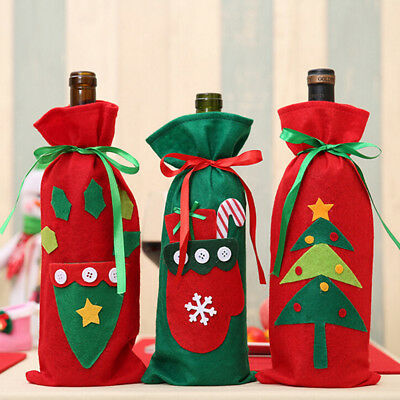 Lovely pet Wine Bottle Cover Bags Decoration Home Party Santa Claus Christmas DS