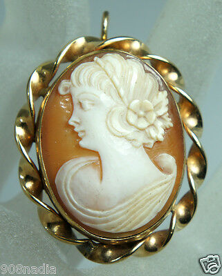 Vintage Victorian Gold Filled 12K Brooch/pendant Cameo Shell Twisted Frame