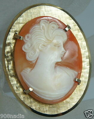 Vintage  Gold Filled Brooch/pendant Art Deco Style Carved Cameo Shell