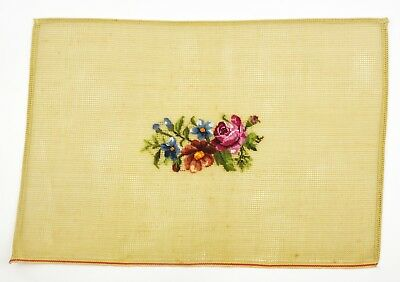 Vintage Needlepoint Floral Bouquet of Flowers Petite Point Pair of Place Mat Kit