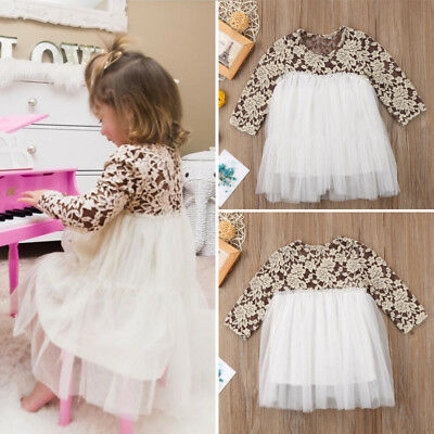 Toddler Kids Baby Girl Princess Lace Tulle Long Sleeve Dress Outfits Clothes Mon