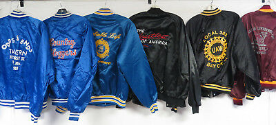 LOT OF 13 VINTAGE 80s 90s SATIN JACKETS UNION LARGE CHEVY SALOON LARGE TRUCKER