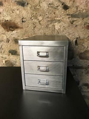 Vintage Industrial Stripped Metal 3 Drawer Filing Cabinet A4 Size
