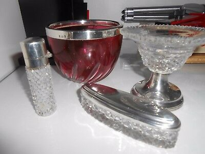 Job Lot Solid Silver Hallmarked Items Including Cranberry Bowl