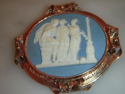 Superb Antique Heavy Gold  Large Wedgwood Cameo  Brooch