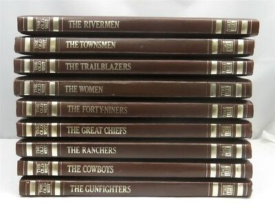"""Set of 9 Time Life series """"Classics of The Old West"""" Leatherette Bound Books"""