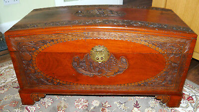 Beautiful Oriental Carved Camphor Wood Blanket Chest