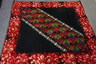 Victorian Wool Carriage Blanket- 52x58- Red/Black- Oak Leaves-Bright Plaid -SALE