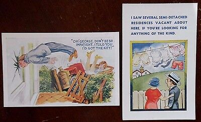 Comedy, Adult Humor, Unposted Postcards x 2, A T Series, from the 1960s/70s