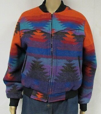 Vintage 80s 90s PIONEER WEAR Jacket Southwest Bomber Colorful Geometric Aztec