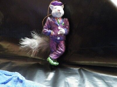 """Unusual Collectible Ornament Of A Glittered 5"""" Tall Cat Dresses In A Suit."""