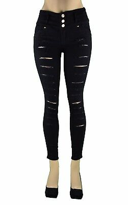 High Waist  Stretch Push-Up Colombian  Levanta Cola Skinny Jeans BLACK LA-727BK