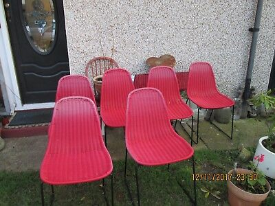 Retro Vintage 1950s style set of 6 red woven plastic chairs metal legs