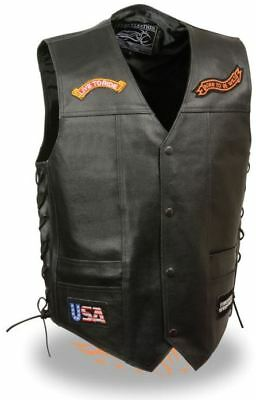 Milwaukee Leather Event Mens Side Lace �Live to Ride� Pre-Patched Vest Black