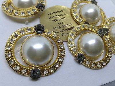 MAXI  bottone gioiello STRASS SWAROVSKY  PERLA vintage BUTTONS BOUTONS COUTURE