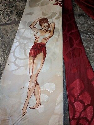 1940s 40'S 1950s NUDE ORIGINAL PIN-UP PIN UP HAND PAINTED SWING ROCKABILLY TIE