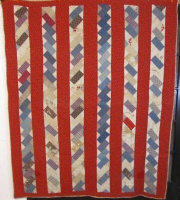 "PA Farmhouse c 1890-1900 ""Stacking Bricks"" Antique QUILT blue red Cutter Save"