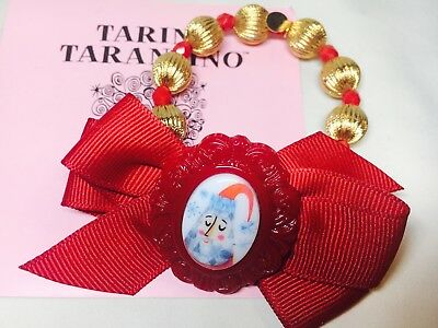 new Tarina Tarantino Hey Santa Lucite Beaded Bracelet red ribbon