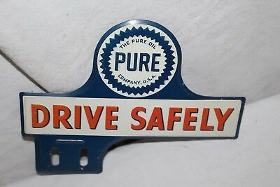 Vintage 1940's Pure Oil Drive Safely Gas Station Metal License Plate Topper Sign