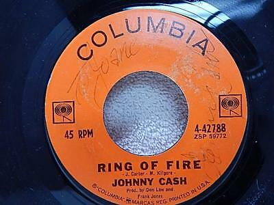 """Original Columbia Records 45 """"Ring of Fire"""" signed by Johnny Cash Autographed"""