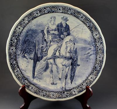 Large Vintage Boch Delft Pottery Charger Couple on Horse Drawn Carriage NR