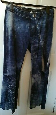 Vintage LEATHER Suede BELL Bottom 70's TIE Dye PANTS Indigo ENGLAND Made UNISEX