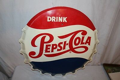 "Large Vintage 1950's Pepsi Cola Soda Pop Bottle Cap Gas Station 31"" Metal Sign"