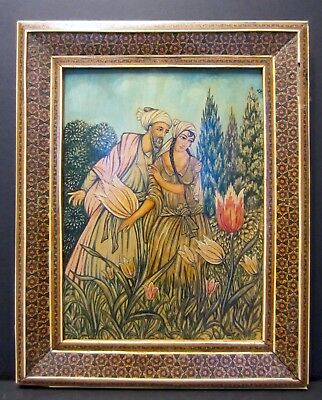 Persian or Turkish Miniature Painting in Khatam Frame--Islamic/Middle East