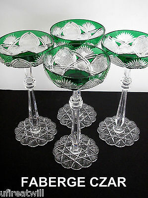 4 Faberge Czar Emerald Green Cased Cut To Clear Saucer Champagne Signed