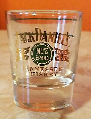 Vintage Jack Daniels 1960's Gold & Green Shot Glass  Double Line