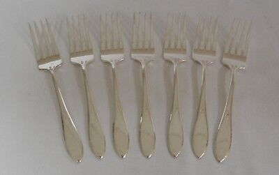 Lot of 7 Wm Rogers Silverplate Salad Forks pattern Pickwick 1938