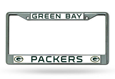 Green Bay Packers WHITE Metal Chrome License Plate Frame Auto Truck Car NWT