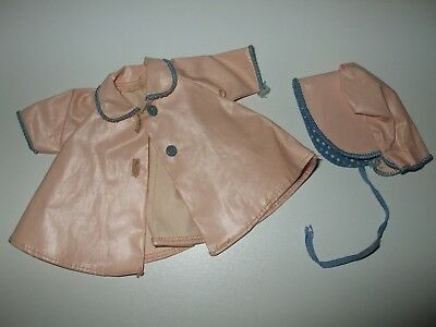 VINTAGE MADAME ALEXANDER KINS DOLL  PINK RAIN COAT with BONNET  TAGGED