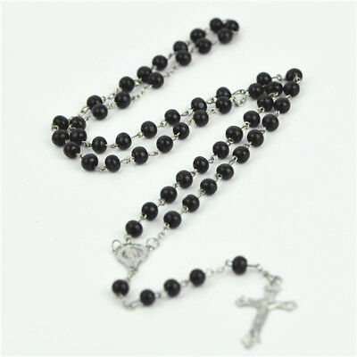 Black Wooden Beads & silver Chain Religious Christian Rosary With Silve Cross