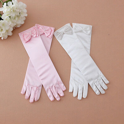 Satin Bow Pearl Long Gloves Elbow Length Princess Costume Dress Baby Girls Kids