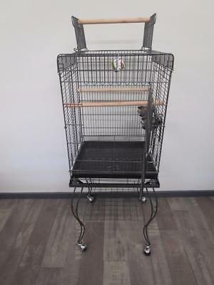 Bird parrot square cage aviary stand castor wheels w open roof play gym B901A