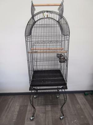 Bird parrot arch cage aviary stand castor wheels w open roof play gym B902A