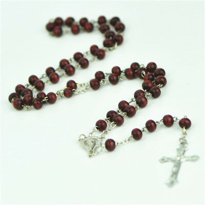 Rose Red Brown Wooden Beads Silver Chain Religious Christian Rosary With Cross