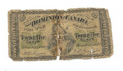 """1870 Dominion Of Canada 25 Twenty Five Cent  """"shinpaster"""" Bank Note!!"""