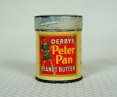 Vintage Derby's Peter Pan Peanut Butter Litho Tin Can Sample 2 oz.