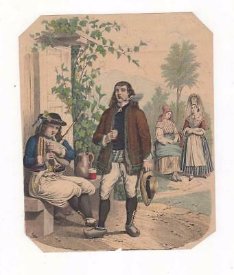 French Litho C1860, French Musician People In Ethnic Dress